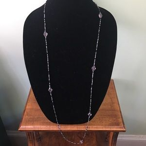 Long Black & Gray Beaded Necklace